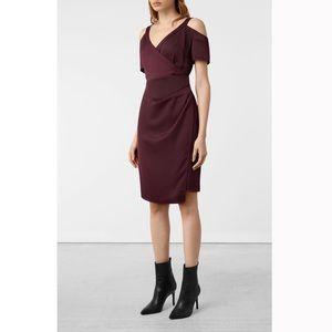 AllSaints Open Shoulder Cadia Satin Wrap Dress